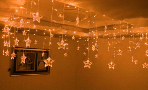 Ayangyang Yellow Color Five-pointed Star Shape Led String Light Holiday Fashionable Lights Bedroom Ornament Light Christmas Lights Celling Decorate Light 0.75*8m 192 Bulb