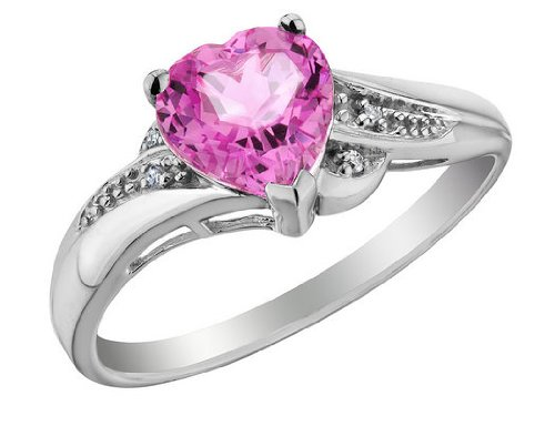 Created Pink Sapphire Heart Promise Ring with Diamonds