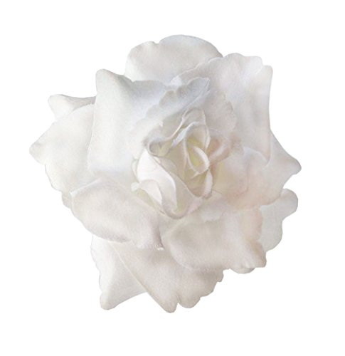 Silk Rose Flower Hair Clip Bridal Wedding 3.75 Inches. (White)