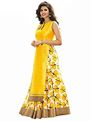 Spangel Fashion Festive Special New Fancy Yellow And White Flower Print Indo Western Lehenga