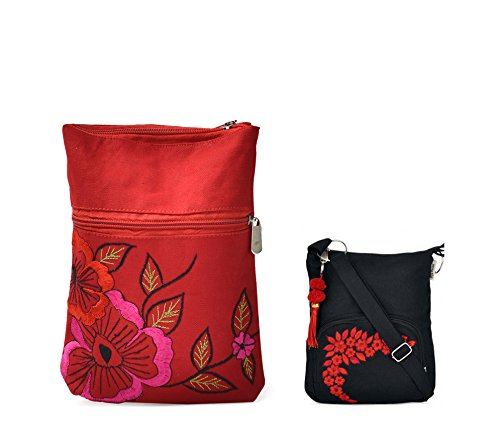 Combo Of Beautiful Red And Black Embrodidery Sling With Black Small Sling Bag