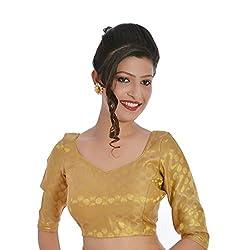 Inblue Fashions Brocade & Georgette Brocade Blouse (INBBLU001_Golden_42)