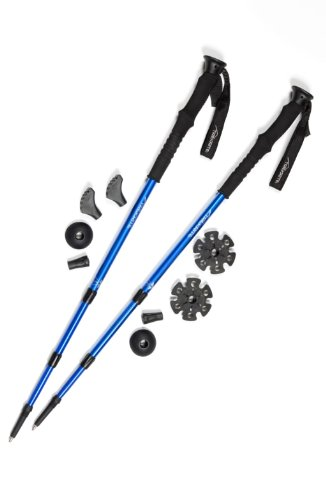 Pair of Trekrite Advanced Antishock Lightweight Walking Poles / Hiking Sticks - Blue