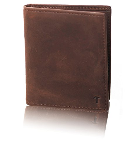 TUKOV-RFID Blocking Genuine Leather Minimalist Wallet-Slim Bifold Wallets For Men-Credit Card Holder with ID Window (Mens Wallets Id Protection compare prices)