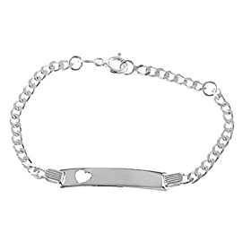 Sterling Silver Heart Cut Out Engravable Id Identification Bracelet for Child