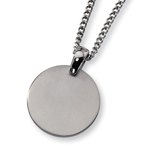 Chisel Brushed Titanium Circle (35mm) Pendant on 22 Inch Steel Curb Chain
