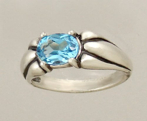 A Lovely Sterling Silver Ring Featuring a Beautiful Faceted Blue Quartz Gemstone