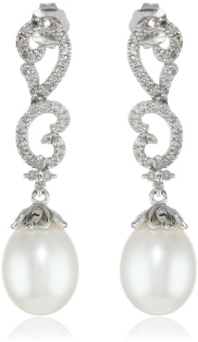 10K White Gold Scroll Design Diamond And Freshwater Pearl Drop Earrings (1/5Cttw, I-J Color, I2-I3 Clarity)