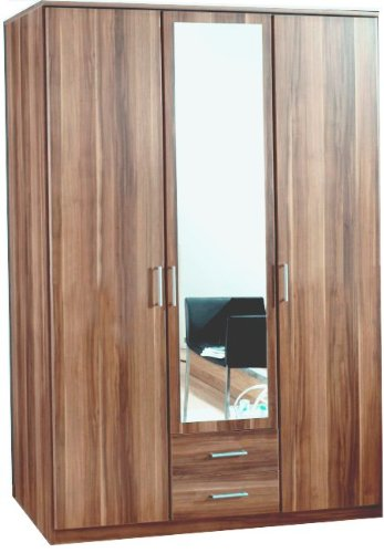 Wimex Omega 3-Piece 3 Door Plus 2-Drawer Wardrobe, 199 x 58 x 135 cm, Walnut