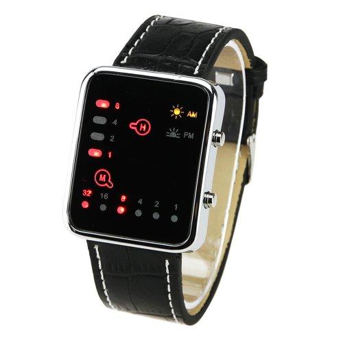 Muchbuy New Digital Red Led Sport Wrist Watch Binary Wristwatch Pu Leather Women Mens
