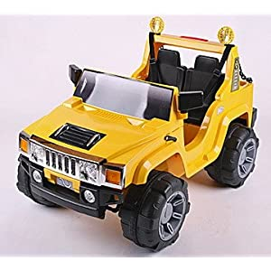 Kids Ride On Car Yellow HUMMER Style Electric Battery Toy 12v