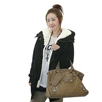 Black M(10-12) Ladies Warm Winter Coat Thicken Fleece Zip Hooded Parka Long Overcoat Sz 8-18