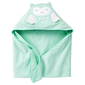 Carters Owl Hooded Towel For Baby Green