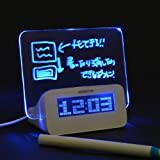 Thanko Erasable Neon LED Writing Board Alarm Clock with 4 USB HUB ALMCLK92