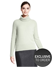 Autograph Angora Blend Fluffy Roll Neck Jumper