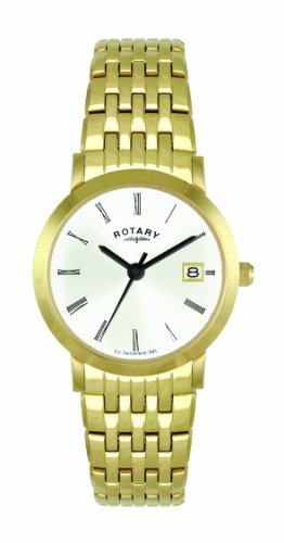 Rotary Timepieces Ladies Quartz Watch with White Dial Analogue Display and Gold Stainless Steel Bracelet LB02624/01