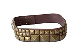 BCBG MAXAZRIA BELT LEATHER DARK RED PYRAMID STUD WOMENS ACCESSORIES, Size MED