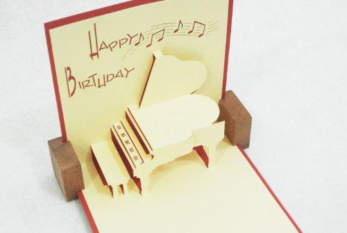 全100種以上 立体ポップアップ グリーティングカード :バースデー・ピアノ  誕生日・クリスマス・メッセージカード☆6枚購入1枚サービス大感謝キャンペーン中☆