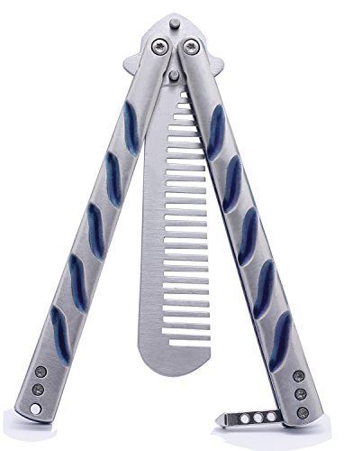 Jollylife Butterfly Knife Training Comb Knife Trainer Titanium Blue Handle with Nylon Scabbard 1pc