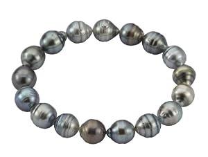 Adriana Damen-Armband Tahiti Zuchtperlen elastisch 925 Sterling Silber Tahiti Modern PR4-5