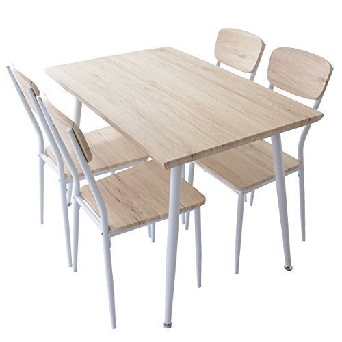 (DORIS) ダイニングテーブル 5点セット 【ウォーム ナチュラル】 テーブル&チェア(5点セット) 4人掛け 幅:110cm 組み立て式