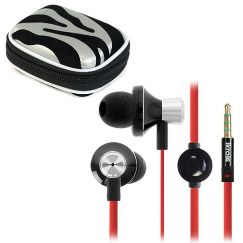 iKross In-Ear 3.5mm Noise-Isolation Stereo Earphones With Tangled Free Flat wire Handsfree Microphone Headset- Metallic Black/Red+Carrying Pouch Case For Blackberry, HTC, LG, Motorola, Pantech, Huawei, Nokia, Sony, Apple iPhone, iPod, iPad, Samsung, Asus, Acer and Other Android Cell Phone, Window Smartphone, Tablet, Ebook, MP3 Player and more
