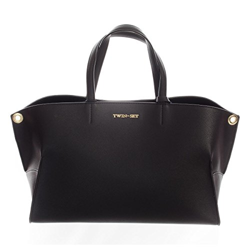 TWIN SET Borsa due manici a mano in saffiano NERO AA67P1
