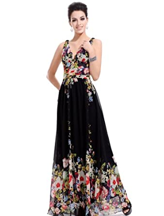 Ever Pretty Sexy Double V-neck Floral Printed Chiffon Evening Party Prom Maxi Dress 09636, HE09636BK06, Black, 6UK