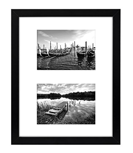 11x14 inch Black Collage Picture Frame with Two 5x7 inch Openings - White Mat - Displays Two 5x7 inch Portrait Pictures - Collage Picture Frame (Side By Side Frame 5x7 compare prices)