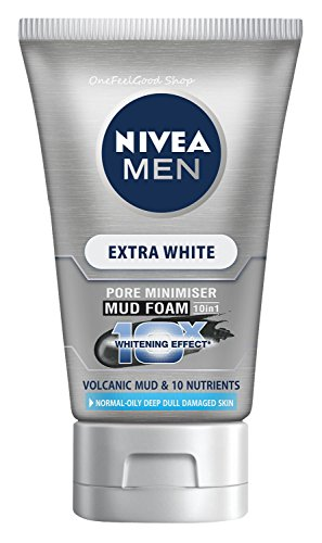 Face Foam NIVEA Men Extra White Pore Minimizer Volcanic Mud Net wt 3.5 Oz or 100 Gram. (Nivea Extra White Mud Foam compare prices)