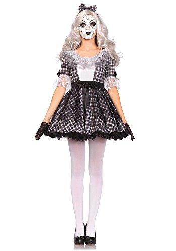 Leg Avenue Women's 3 Piece Pretty Porcelain Doll Costume, Black/White, Medium