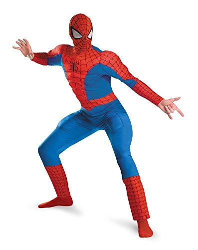 UHC Men's Spiderman Deluxe Marvel Superhero Muscle Fancy Costume, Plus (50-52)