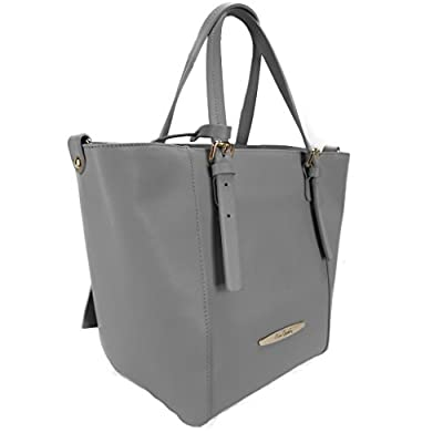 Pierre Cardin 1335 GRIGIO Made in Italy Grey Leather Structured Tote/Shoulder Bag