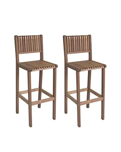 Amazonia Set of 2 Ibiza Eucalyptus Bar Stools, Brown