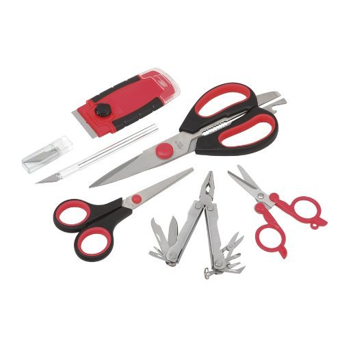 """Abc Products"" - 7-Piece ~ Cutting Tool Set ~ 3-Pair Of Scissors - Multi-Purpose Pliers, Razor Scraper, And Hobby Knife With Blades (Set Of Most Frequently Used Tools)"