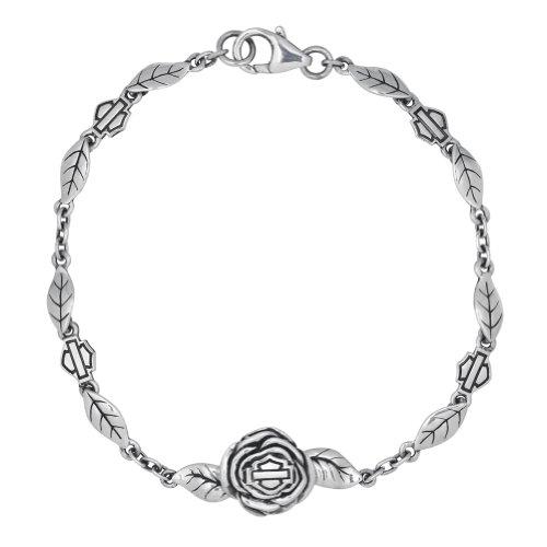 Harley-Davidson Womens .925 Silver Rose Chain Bracelet Bracelet (7 Inches)