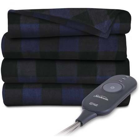 Discover Bargain Sunbeam Electric Heated Fleece Throw, 50 x 60, Navy Plaid
