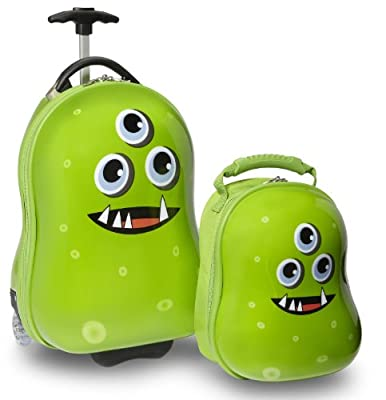 Travel Buddies Archie Alien Luggage Set for 24 - months (Green, 2 Pieces) from TrendyKid