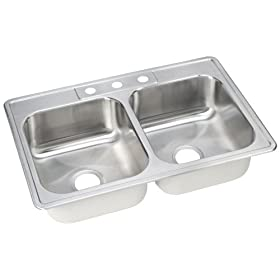 Elkay DSE233223 Dayton 33-Inch by 22-Inch Stainless Steel Double Bowl Three-Hole Kitchen Sink, Satin Finish