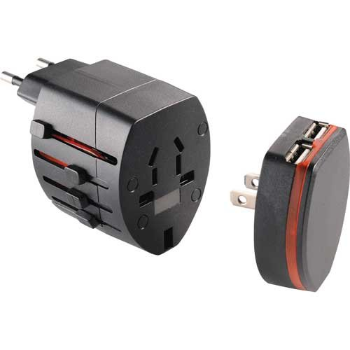 Universal All-In-One Travel Adapter Plug, International Travel Plug Adapter, 2 Usb Charger Attachment