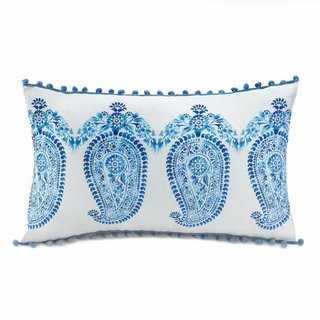 Home Decor Tasseled Blue Paisley Pillow - 1