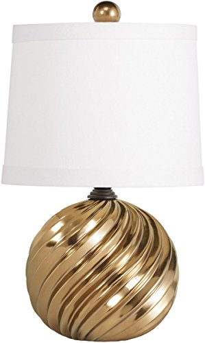 Kichler Lighting 70877 Raquel 1-Light Accent Lamp With White Fabric Shade, Gold Ceramic Finish front-801226