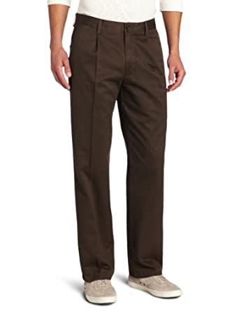 Dockers Men's Straight Fit All The Time Pleated Khaki Pant, Coffee, 29x32