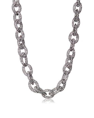 Saachi Gunmetal-Tone Net Crystal Chain Necklace