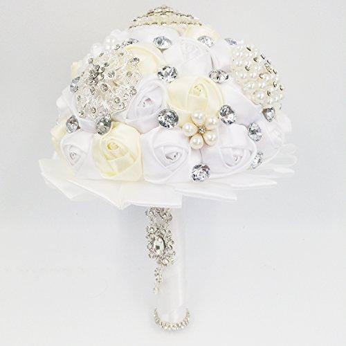 e muse vintage blumenstrau k nstlicher blumendeko perlen wei und champagner satin rose. Black Bedroom Furniture Sets. Home Design Ideas