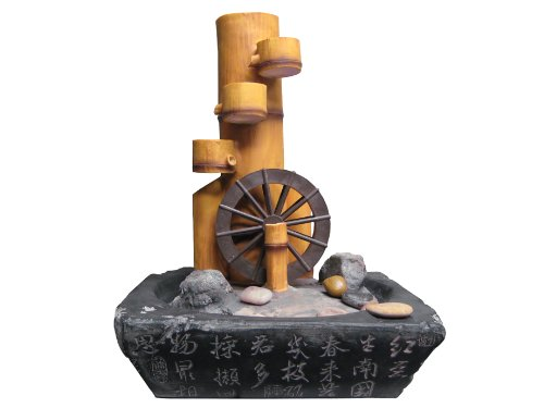 Bamboo Cascade with Wheel Indoor Table Top Water Fountain