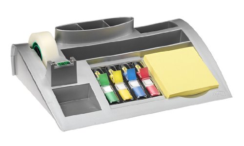 Post-it C50 Desk Organiser Set - Dispenses Post-it Notes, Index Flags and Scotch Tape - Filled