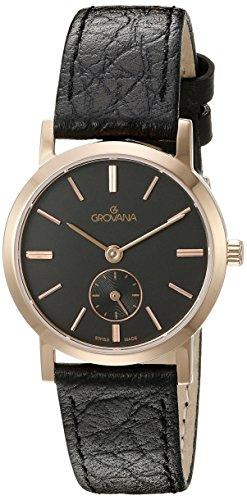 Grovana 3050,1567 - Reloj para mujer, correa de cuero color negro