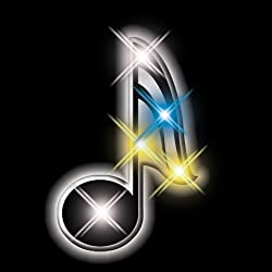 Music Note Flashing Blinking Light Up Body Lights Pins (5 Pack)