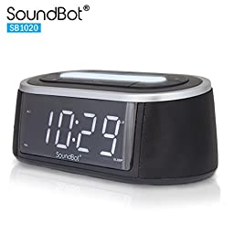 SoundBot SB1020 FM RADIO Bluetooth Wireless Speaker & Dual Alarm Clock for Music Streaming w/ FM Tuner, 2.1A USB Charging Output, 3.5mm AUX Line-In, LED Night Light